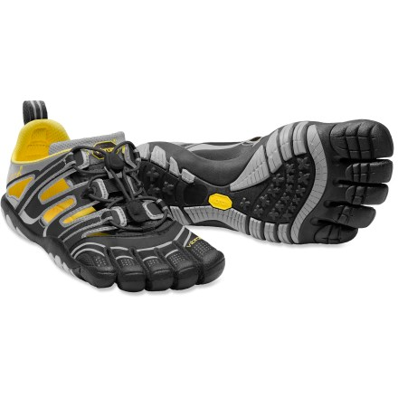 Wake The Vibram FiveFingers TrekSport multisport sandals are nimble and versatile with low-profile traction. They are a great choice for those that enjoy a barefoot fit that doesn't sacrifice comfort. Polyurethane upper fit low on feet and offer great breathability and durable performance. Individual toe slots enhance dexterity, control and stability to deliver a natural walking motion. Single-pull lacing system quickly secures the fit. EVA midsoles help provide light cushioning underfoot. Lightweight 3.5mm Vibram outsoles made of nonmarking Vibram TC1 performance rubber offer enhanced traction on a variety of surfaces. Recommended for running, watersports and casual applications. To allow your feet to adapt to using different muscles, begin use of these shoes gradually and increase over time. Machine washable in cold water; air dry only. To determine size, stand with heels against a wall and measure from the wall to the tip of the longest toe; use the longest toe length in conjunction with the size chart. - $62.93