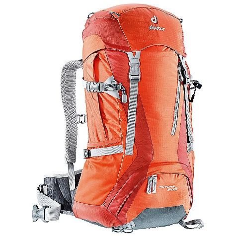 Camp and Hike Free Shipping. Deuter Women's Futura 24 SL Pack DECENT FEATURES of the Deuter Women's Futura 24 SL Pack Contoured, Padded Shoulder Straps: with 3D Wide-AirMesh cover Aircomfort Ventilated Back: system reduces perspiration by 25% Durable Spring Steel Frame: stays always pop back into place and add tension to the mesh back panel Ventilation Hip Pads: made of bilaminate foam to guarantee a great fit and carrying comfort Aircomfort Futura Back System Bottom Compartment Access with Internal Zip Divider Integrated, Detachable Rain Cover Zippered Side Bellow Pockets Top Lid Pocket Compression Straps Hydration Compatible Stretch-woven Side Pockets Front Stash Pocket Stabilizer Straps Under-lid Valuables Pocket Ice Axe and Trekking Pole Attachments SOS Label The SPECS Carry Capacity: 18 lbs / 8 kg Torso Length: 14.5 - 18in. / 37 - 46 cm Volume: 1465 cubic inches / 24 liter Weight: 3 lbs 5 oz / 1.5 kg (includes rain cover) Dimension: (H x W x D): 23 x 13 x 8in. / 58 x 33 x 20 cm Material: Ripstop 210 den / Super-Polytex - $129.00