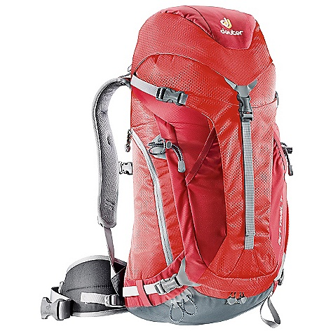 Camp and Hike Free Shipping. Deuter ACT Trail 32 Pack DECENT FEATURES of the Deuter ACT Trail 32 Pack Aircontact Back System with Delrin U-frame Rod Aircontact Pads: made of breathable hollow chamber foam bringing the load close to the center of gravity Air Channel: between the Aircontact cushions helps reduce perspiration by 15% Flexible, Tensioned: Delrin U-frame provides stability and carrying comfort Anatomically Cut Hip Belt: bilaminate foam provides great load transfer and offers freedom of movement Aircontact Back System with Delrin U-frame Rod Stuff-It Pocket Integrated, Detachable Rain Cover U-Shaped Front Panel Access Side Pocket Large Side Zippered Pocket Hip Belt Pocket Ice Axe and Trekking Pole Loops Hydration compatible Contoured, Padded Shoulder Straps with 3D AirMesh The SPECS Carry Capacity: 25 lbs / 11 kg Torso Length: 17 - 21in. / 43 - 53 cm Volume: 1950 cubic inches / 32 liter Weight: 2 lbs 14 oz / 1.32 kg (includes rain cover) Dimension: (H x W x D): 26 x 13 x 9in. / 66 x 32 x 24 cm Material: Microrip-Nylon / HexLite 210 - $129.00