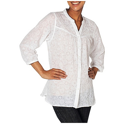 Free Shipping. Ex Officio Women's Next-To-Nothing Artisan Top DECENT FEATURES of the Ex Officio Women's Next-To-Nothing Artisan Top Button front placket Lightweight: Lightweight fibers make this weigh less than a similar garment Ventilation: Strategically placed vents circulate air to decrease body temperature Wrinkle Resistant: Fiber weave recovers quickly from folding and creasing and releases wrinkles without heat The SPECS Natural fit Next To Nothing Flower Print 59% Polyester/41% cotton - $59.95