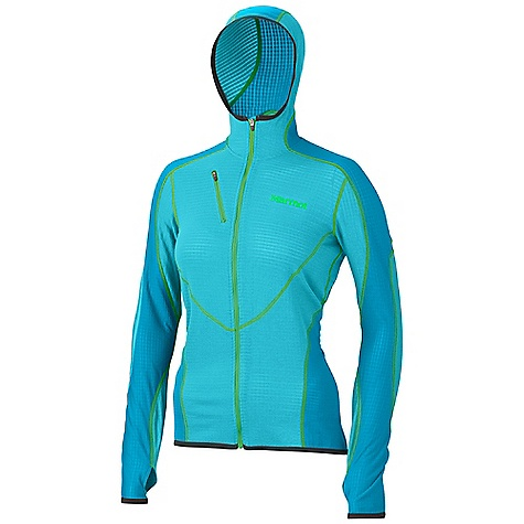 Free Shipping. Marmot Women's Thermo Hoody DECENT FEATURES of the Marmot Women's Thermo Hoody Polartec High Efficiency Fleece Attached Hood Flat Lock Construction Zippered Chest Pocket Elastic Bond Cuffs with Integrated Thumb Holes The SPECS Weight: 14 oz / 396.9 g Center Back Length: 25in. Fit: Athletic Polartec Power Dry 92% Polyester 8% Elastane Stretch 3.9 oz/yd - $134.95