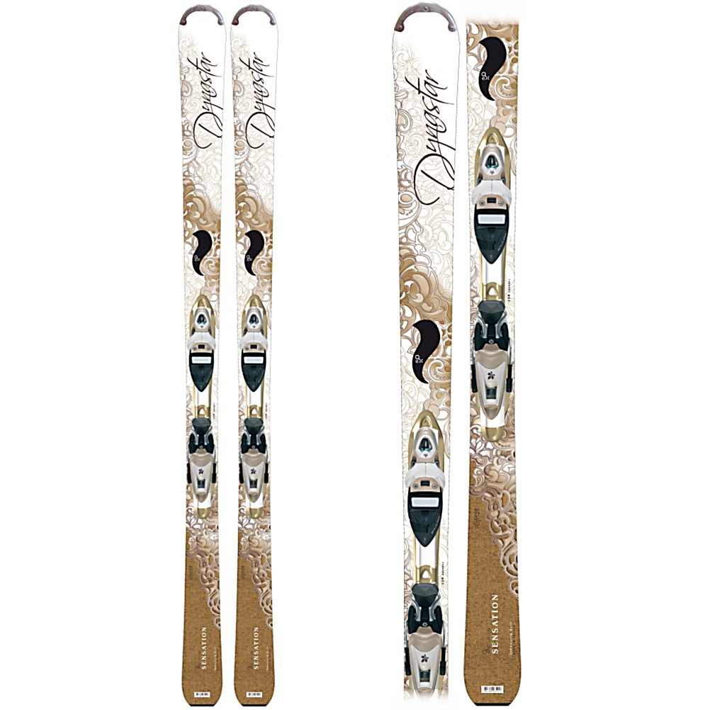 Ski Dynastar Exclusive Sensation Womens Skis with Nova 9 Fluid Bindings - Dynastar returns with the Women's specific, Exclusive Series, skis. Utilizing the Exclusive Balance System, Dynastar is able to tailor each ski to particular needs of female skiers. Stance and sidecut are moved towards the tips of the skis, providing increased control and ease of turn initiation. Heel Lift is added directly into the ski promoting a more forward stance, improving overall balance. On top of this concept Dynastar uses their unique Autodrive construction, that utilizes cap construction at the tip and tail and a vertical sidewall underfoot, a ski that will be both forgiving on turn initiation and exit but with tremendous edge hold. This allows for vertical sidewalls to be placed at key points through the ski to fine tune the overall flex, forgiveness, and edge hold of the ski. The vertical sidewall is only used directly under the heel of the skier, making the Sensation incredibly forgiving, while retaining enough edge hold to inspire confidence in any entry level skier. The Sensation is designed around the idea of providing beginning or timid skiers a platform that will not only feel comfortable and easy to ski, but give room for improvement. As the name says it can give any skier the true Sensation of carving and linking fluid easy turns. . Skill Range: Beginner - Advanced Intermediate, Model Year: 2011, Product ID: 192773, Shipping Restriction: This item is not available for shipment outside of the United States., Model Number: A1550 143, GTIN: 3607681068328, Sk - $299.93