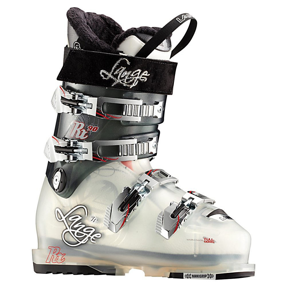 Ski Lange Exclusive RX 90 Womens Ski Boots - The Exclusive RX 90 is a boot for gals who like to push the limits in everything from the race course to deep powder fields. By starting with the Natural Stance geometry Lange makes the Exclusive RX 90 a very well balanced boot that is quick responding and powerful. Allowing for significant range of motion the Natural Stance gives the Exclusive RX 90 good rebound energy as well, which returns the force you put in for a lively pop which adds precision to carving and functions like suspension for your legs in choppy and roughed up snow. At a 90 flex these boots are supportive enough for strong advanced skiers but still mellow enough for the athletic intermediate skiers. The Control Fit liner which blends comfort and support with a firm heel wrap with good cushioning through the heel. The liner gets a layer of goose down as first layer against the foot which provides extra cushioning and greatly increases the warmth of the boot. To keep things closed up nicely all four buckles are microadjustable with a powerstrap at the top of the cuff. Whether you are aspiring to be an all-mountain ripper or already have your membership card the Exclusive RX 90 is a great ride. Features: Powerstrap. Actual Flex: 90, Cuff Alignment: Dual, Warranty: One Year, Gender: Womens, Special Features: Natural Stance, Ski Boot Width: Medium (100-103mm), Special Features: Control Fit Liner, Flex: Stiff, Race: No, Used: No, Ski/Walk: No, Prewired For Heat: No, Number of Micro Buckles: Four, Freestyle: No, S - $269.97