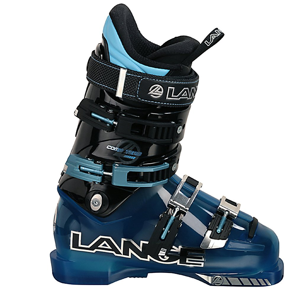 Ski Lange Comp Team Junior Race Ski Boots - The Lange Comp Team Junior Ski Boots is a part of the strongest junior offering Lange ever designed. The Comp Team Junior is based off of the award-winning adult RS shell. The Comp Team Liner provides an accurate fit and immediate response as well as greater toe comfort. The Instep Pocket increases circulation and warmth to ensure your kid's feet stay nice and comfy. The boot's Natural Stance design compliments modern ski design by providing a neutral and upright stance resulting in more efficient power transfer on modern shaped and rockered skis and less quad fatigue ensuring they have the ability to tackle more lines. Mono-injection delivers the smoothest flex pattern for ultimate response feedback. The Lange Comp Team Junior Ski Boots boasts high-performance, comfort and technology so your child can perform at their very peak. . Actual Flex: 80, Cuff Alignment: Single, Warranty: One Year, Gender: Kids, Special Features: Traditional Overlap Shell, Ski Boot Width: Narrow (95-99mm), Special Features: Junior Fit, Flex: Medium, Race: Yes, Used: No, Ski/Walk: No, Prewired For Heat: No, Number of Micro Buckles: 4, Forefoot Width: 98mm at Reference Size 25.5, Flex Adjustment: No, Buckle Count: 4, Buckle Material: Aluminum, Category: Race, Ski Gear Intended Use: Race, Instep Height: Standard, Calf Volume: Standard, Skill Range: Advanced Intermediate - Expert, Model Year: 2011, Product ID: 307699, Shipping Restriction: This item is not available for shipment outside of the United St - $149.93