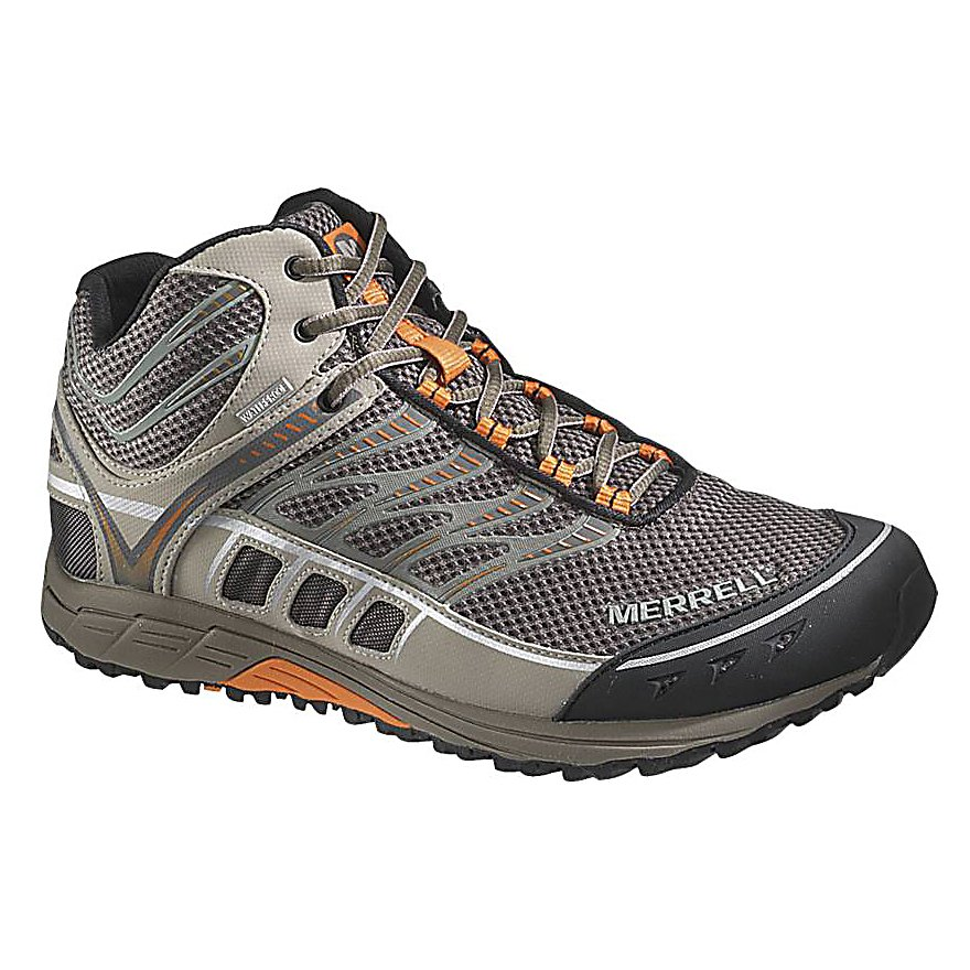 Climbing Merrell Mix Master Tuff Mid Waterproof Mens Shoes - Support, comfort and durability are all qualities you look for in a trail shoe. Good news! The Merrell Mix Master Tuff Mid Waterproof Shoes have all that and more. Surprising lightweight at just a pound-and-a-half, these shoes help reduce fatigue and keep you going longer. The Bellows Tongue will keep the dirt and debris out and the waterproof membrane ensures water stays out. But don't worry, these shoes are very breathable so moisture on the inside can escape and the EVA Anatomical Footbed that's been treated with Aegis Antimicrobial Solution keeps the stinky foot odor to a minimum. A Merrell Float Midsole is thinner than most and provides more feel and ground control. The Merrell Air Cushion in the heel absorbs the shock which can be a pain at the end of a long day while also increasing stability. Finally, there is the Merrell Tuff Sole/Sticky Rubber which will allow you to climb over rocks, branches and uneven terrain with plenty of traction. Built tough, waterproof, comfortable and supportive, the Merrell Mix Master Tuff Mid Waterproof Shoes are truly all that and a bag of chips (bag of chips not included). Features: 2mm EVA Insole, Midsole/Outsole: 4mm Drop / 12mm Cush / 23mm Stack Height, Merrell Air Cushion in heel, 1mm Forefoot Shock Absorption Plate, Merrell Mix Tuff Sole / Sticky Rubber. Warranty: Lifetime, Waterproof: Yes, Material: Fabric and synthetic upper, Type: Shoe, Insulated: No, Sole Material: Merrell Float midsole, Model Year: 2013, Product ID: 301471 - $69.90