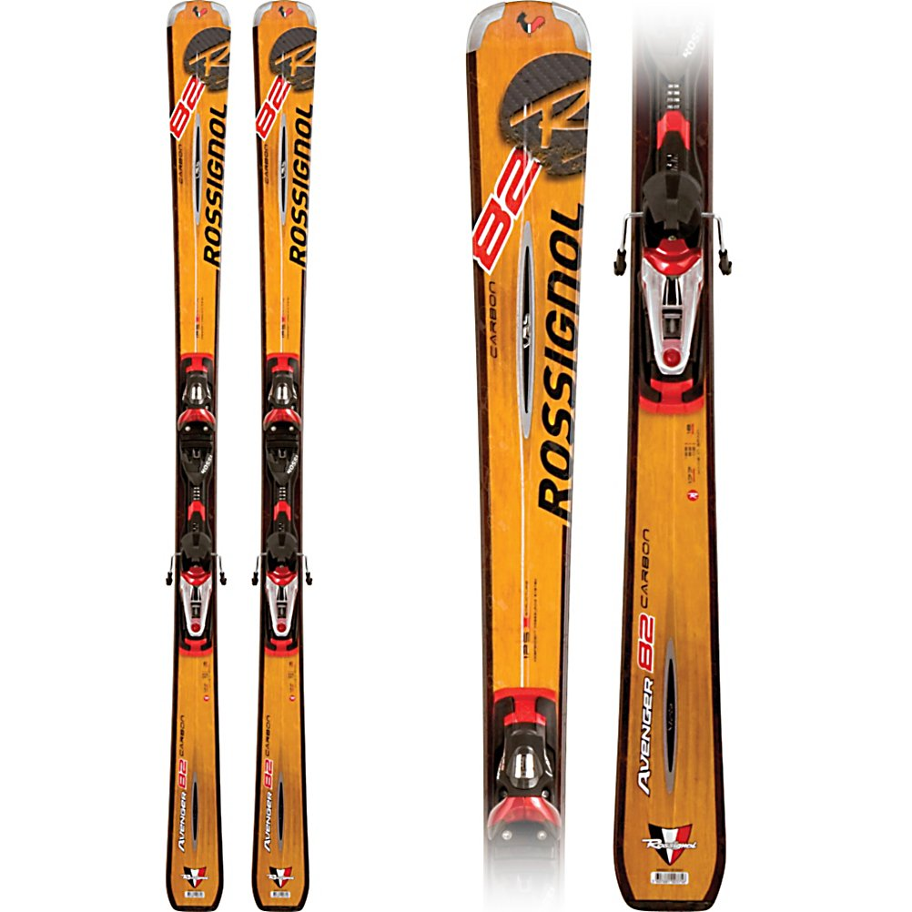 Ski Rossignol Avenger 82 Carbon Skis with Axium 120 Bindings - A true All-Mountain ski, the Avenger 82CA utilizes Rossignol's All Mountain Tip Design to extend the side cut of the ski making it wider and more versatile in addition to making it easier to initiate turns. The Oversize Concept creates better edge grip and power, in turn making the ski feel more stable while ripping up the mountain. The smooth, easy initiation of the All Mountain Tip design makes the oversized 82mm waist relatively quick edge to edge and the Independent Pressuring System transmits every ounce of power you provide into the edges boosting power and performance. The Vibration Absorption System allows you to power through adverse snow conditions with greater control and stability, perfect for exploring in deeper, softer snow. Rossignol uses a wood core made from laminations of Ash and Poplar wood to make the Avenger 82 Ti more lively, responsive, and durable than Composite Core skis. Doing their part to halt global warming Rossignol uses wood from renewable tree farms for their cores. The 82 Carbon uses carbon stringers in the core to add torsional rigidity, while keeping it softer and more forgiving than the Titanal version. The Rossignol Avenger 82 Carbon is a great ski for an advanced intermediate looking for a wider ski to improve their all terrain skiing as far as an expert level. Features: Wood Harvested from Sustainable Tree Farms, TPI2 Integrated Binding System Stores Energy for Explosive Rebound out of Each Turn, Carbon Stringers For Added Stiffness at a - $499.90