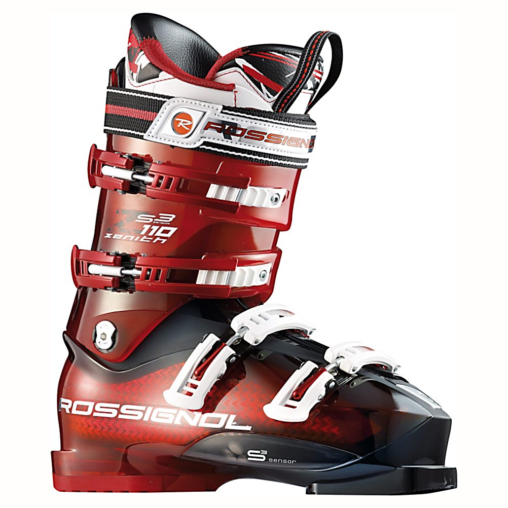 Ski Rossignol Zenith Sensor3 110 Ski Boots - The Zenith Sensor3 110 has all of the features necessary to help you take your skiing to the next level. The Zenith Sensor3 110 is great for advanced and expert skiers looking to push the boundaries. The Pro Fit Liner matches the internal shell perfectly, making the Sensor3 one of the best fits straight out of the box. Featuring an unusually articulate heel area the Zenith Sensor3 is not only comfortable but provides excellent energy transfer from the foot to the boot. A one piece toe box and tongue ensures a seamless toe box which eliminates pressure points around the toes for additional warmth and comfort. This design also allows for a soft instep pocket over the top of the foot to provide comfort and increase circulation to your toes. Rossignol uses their Sensor3 Concept in the Zenith 110, by positioning the foot's 3 balance points closer to the shell the skier gains unprecedented feel and power. Notches in the lower shell allow for ultra easy entry and exit with out compromising four-buckle boot performance. The neutral stance of the Zenith Sensor3 110 gives skiers a stable and efficient stance to drive the ski through each turn. The diagonal placement of the buckles helps pull your heel all the way back into the heel pocket for a great, snug fit. The removable boot board can also be modified to enhance the fit of Zenith Sensor3 110. Features: Neutral Stance Gives Skiers a Stable Platform and Efficient Stance to Drive Skis, Diagonal Buckles Pull Heel Back into Heel Pocket - $399.95