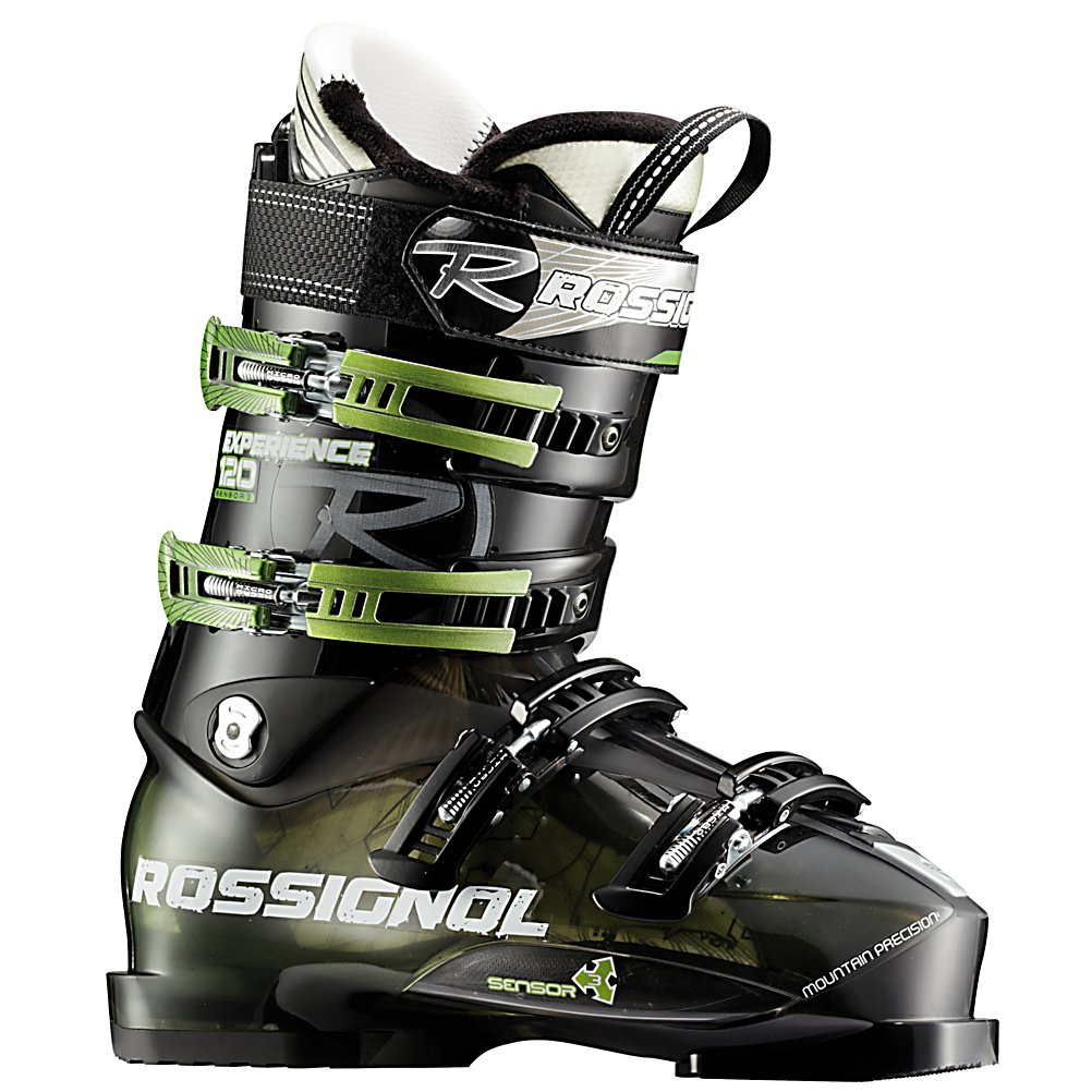 Ski Rossignol Experience Sensor3 120 Ski Boots - The Rossignol Experience Sensor 120 is a great boot for the advanced to expert skier that has a wide forefoot, and medium to wide shaft of the leg. The Neutral Stance gives you more control, better balance, and reduces fatigue. The 120 flex is perfect for strong skiers, or bigger, taller guys to give you support and rebound. A molded PU liner is stiff, and takes some time to pack out so you can ensure that your boots will fit properly for many seasons. A V shaped lasted Sensor Liner in the forefoot, has a contoured fit, defined heel pocket, and an asymmetrical toe box to keep your foot locked in, and secure. Sensor Fit Liners have an open instep, and accommodating ankle area, for comfort, and warmth. Rossignol makes the Experience 120 easy to enter and exit, by adding notches along the instep without compromising the four buckle overlap performance. The Rossignol Sensor fit liner has a one piece tongue and toe box to create a more comfortable toe box, true-lasted liner, padding in all of the anatomically correct places to securely grab your foot, an instep pocket, and a self shaping tongue to eliminate instep pressure and shin bang. If you are a bigger taller skier, with a wide foot who needs a wider fit, but does not want a mushy soft boot, the Rossignol Experience Sensor 120 will be a great boot for you . Actual Flex: 120, Cuff Alignment: Single, Warranty: One Year, Gender: Mens, Special Features: Easy Entry, Ski Boot Width: Medium (100-103mm), Special Features: Neutral Sta - $249.93