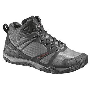 Camp and Hike Merrell Proterra Mid Sport Ventilator Mens Hiking Boots - Super lightweight and designed to feel like a glove on your feet, the Merrell Proterra Mid Sport Ventilator Hiking Boots are an outdoors enthusiast's dream. These boots are very durable and made with lightweight Stratafuse Technology eliminating bulk so you have more freedom and natural movement. You'll have a Bellows Tongue keeping any debris and dirt out of the boot and a protective TPU Rand and Toe Cap to keep your feet and toes in good shape. The breathable Mesh Upper and EVA Removable Footbed is treated with Aegis meaning you won't pull off your boots and meet with a nasty stink. The breathability of these boots help greatly reduce sweaty moisture. When it comes to climbing over rocks and roaming uneven terrain, you'll be all set with a minimal design PU midsole which enhances stability and the Merrell Proterra Sole/Sticky Rubber to help give you excellent traction. Responsive, lightweight and tough, you'll love wearing these Merrell Proterra Mid Sport Ventilator Hiking Boots on your next adventure into the wilderness. Features: Molded TPU Arch Shank, Midsole/Outsole: 4mm Drop / 10mm Cush / 21mm Stack Height, 2.5mm Sole Lug Depth, Merrell Proterra Sole/Sticky Rubber, Weight: 1lb 13oz. Warranty: Lifetime, Waterproof: No, Material: Merrell Stratafuse Fabric, Type: Boot, Insulated: No, Sole Material: PU Midsole, Model Year: 2013, Product ID: 301477 - $59.90