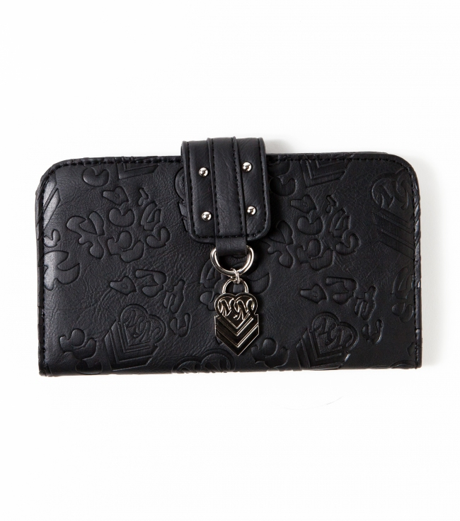 Motorsports Metal Mulisha Maidens wallet.  Black faux leather; allover deboss leopard print; front flap over snap closure; silver circle studs; and custom hanging logo charm. - $16.99