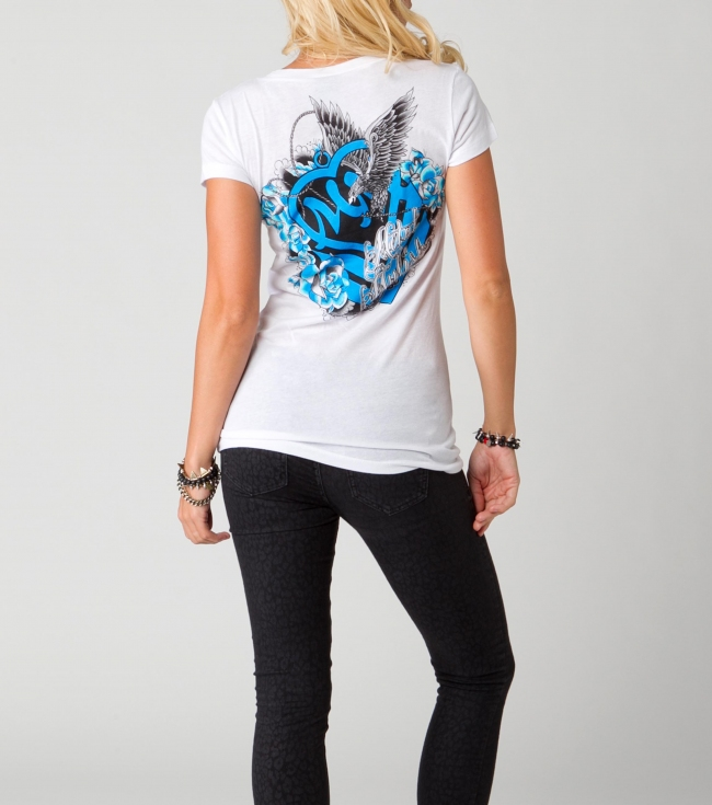 Motorsports Metal Mulisha Maidens Tee. 100% Cotton jersey crew neck Tee with front and back screens withsilver foil. Special collaboration tee with Erin T. - $20.99