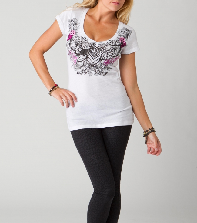 Motorsports Metal Mulisha Maidens tee.  100% Cotton. V-neck tee with screenprint. - $15.99