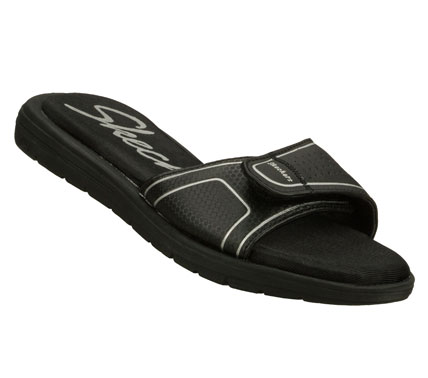 Surf Easygoing warm weather comfort is so simple wearing the SKECHERS Cali Sole Searchers - 1 2 3 Go sandal.  Smooth synthetic upper in a sporty casual adjustable one band comfort sandal with Memory Foam footbed. - $38.00