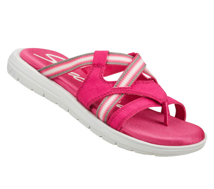 Surf Enjoy all the comforts in a warm weather style with the SKECHERS Cali Sole Searchers - Creature sandal.  Soft woven fabric upper in a strappy casual sporty thong sandal with colorful straps and Memory Foam footbed. - $38.00