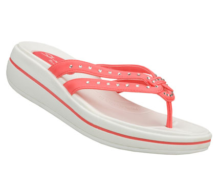 Surf Take your warm weather style to the next level of comfort with the SKECHERS Tone-ups: Upgrades - Head High sandal.  Soft nubuck-textured synthetic upper in a strappy casual comfort thong sandal with stitching accents and glittering crystal detail. - $50.00
