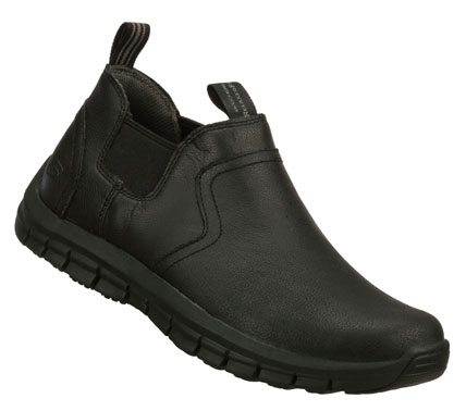 Look good and feel even better wearing the SKECHERS Relaxed Fit: Masen - Planned shoe.  Smooth oiled leather upper in a slip on casual shoe boot with stitching and overlay accents. - $82.00