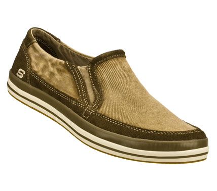Ease right into laid-back cool style with the SKECHERS Relaxed Fit: Diamondback - Sione shoe.  Soft faded canvas fabric and soft suede upper in a slip on casual comfort loafer with stitching and overlay accents. - $55.00