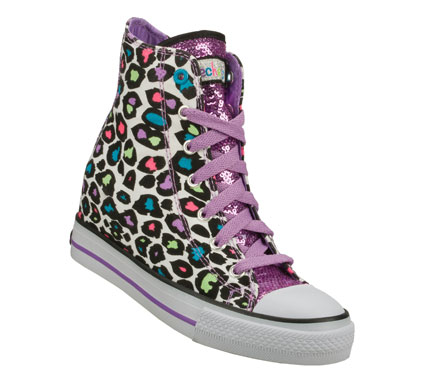 Entertainment Step up her style with some wild fun in the SKECHERS HyDee HyTops: Gimme - Wicked shoe.  Soft woven canvas fabric in a wild animal print with glitter and sequin fabric overlays in a lace up casual hidden wedge high top sneaker with stitching accents. - $54.00