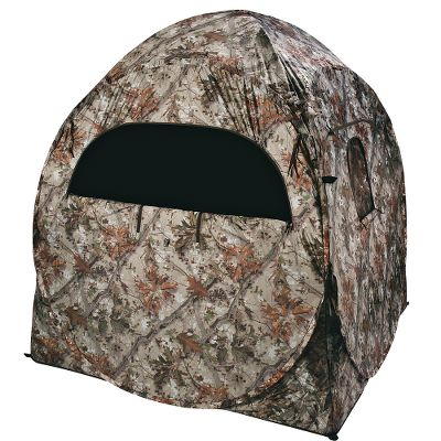 "Hunting The popular Doghouse blind with new Ameristep Tangle 2.0 camo. This camo features a true digital background and a bark/leaf foreground for extra depth and concealment. Its open, pixilated camo pattern is perfect for ground blinds. Durashell water-resistant nylon shell. Four windows with tie-downs and three portholes with shoot-through mesh. Wheelchair accessible. Includes backpack carry case. Imported.Dimensions: 60"" square at base, 68"" tall.Weight: 14 lbs.Camo pattern: Ameristep Tangle 2.0. - $59.88"