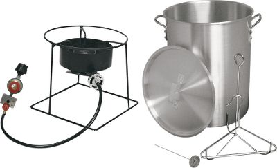 Camp and Hike All the hardware you need to fry up to an 18-lb. turkey just add propane, oil and a seasoned bird. The heavy-duty, welded-steel stand houses a fast-cooking 38,000-BTU burner. Includes aluminum pot, lid, turkey rack with lifting hook, thermometer and CSA-approved hose/regulator assembly. Automatic-shutoff safety timer requires two AA batteries (not included). Imported. - $79.99