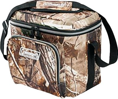 Camp and Hike Lightweight and conveniently sized, these Coleman Realtree AP soft-sided coolers keep beverages and food cool while away from home. Antimicrobial properties built into the flexible lining resist odor, mold and mildew. Includes removable hard plastic liner. Extra-gear-storage options include front zippered pocket, mesh lid pocket and bungees on lid. Heat-welded seams prevent leaks. Adjustable shoulder strap for easy carry. Imported. Sizes: 9-Can, 16-Can, 30-Can, 42-Can. Camo pattern: Realtree AP. Color: Camo. Type: Coolers. - $48.88