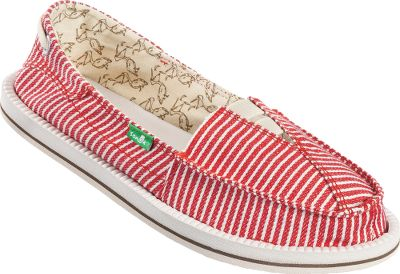 Entertainment The carefree comfort of sandals in casual styles suitable for everyday wear. Boat-shoe inspired Sanuk Castaway Slip-On Shoes with handcrafted short vamp uppers and overlapping fabric styling. Aegis-treated molded EVA footbeds. Happy U rubber outsoles. Imported.Womens whole sizes:6-10 medium width.Color: Red/White. Type: Slip-Ons. Size: 6. Shoe Width: MEDIUM. Color: Red/white. Size 6. Width Medium. Color Red/White. - $39.88
