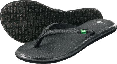 Fitness Soft and comfortable Sanuk Yoga Spree 2 Flip-Flops with real yoga-mat footbeds. Metallic-like straps with webbing liners. Happy U outsoles. Imported.Womens whole sizes:6-10 medium width.Colors: Black, Teal. - $14.99