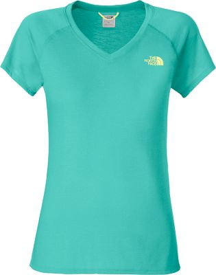 With VaporWick technology, this relaxed-fit The North Face Reaxion V-Neck Tee Shirt wicks moisture away from your skin and moves it to the outer layer of the fabric where it quickly evaporates. Great for indoor workouts with a soft cotton feel and added elastane for stretch. Drop-tail hem provides extra coverage. Imported.Center back length: 24.Sizes: S-2XL.Colors: Electro Coral Orange, Heather Grey, Ion Blue, Linaria Pink. Size: Medium. Color: Linaria Pink. Gender: Female. Age Group: Adult. Material: Cotton. Type: Short-Sleeve Tee Shirts. - $17.88
