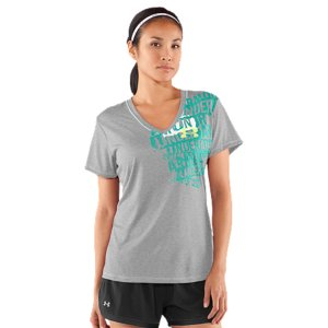 Fitness New, ultra-lightweight UA Tech(TM) fabric has a softer, more natural feel, for unrivaled comfort and performanceAnti-odor technology prevents the growth of odor-causing microbes, keeping your gear fresher, longerSuperior Moisture Transport System wicks away sweat to keep you cool, dry and lightDeep V-neck design delivers enhanced breathability and a more feminine finishReflective UA Run logo on back provides extra safety for low-light runsGlow-in-the-dark UA logo with offset run graphic on front shows off your passion for performance4.1 oz. PolyesterImported - $20.99