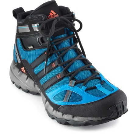 Camp and Hike The adidas Ax 1 Mid GTX multisport shoes are ready for outdoor adventures on varied terrain. Highly breathable nylon mesh uppers with synthetic leather overlays offer flexible performance. Gore-Tex(R) liners make these boots waterproof yet breathable, for comfort in a variety of conditions. Nylon linings wick moisture away from feet to enhance comfort. EVA midsoles absorb shock, cushion feet and provide gentle support. Nylon shanks provide torsional rigidity. Rubber outsoles offer dependable traction on varied terrain. Closeout. - $39.93
