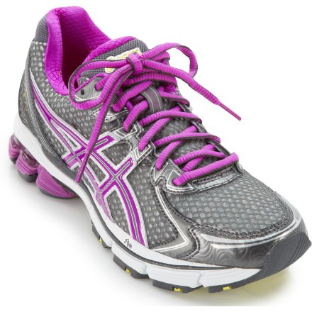 Fitness The ASICS GT-2170 women's road-running shoes put comfort and stability at the forefront, offering a great all-around running platform. Lightweight, flexible synthetic textile and polyester mesh uppers offer maximum breathability and comfort; memory foam-lined collars mold to each foot for amazing comfort. Lacing eyelets are placed to disperse lace tension evenly, enabling a personalized fit that's still supportive and comfortable. Wicking polyester linings move excess moisture away from feet and dry fast. Footbeds are designed to supply additional cushioning, offer antimicrobial performance and manage moisture for a cool, dry and comfortable shoe environment. Dual-density Solyte(R) lasting uses proprietary polymer material that's lighter than standard EVA and offers enhance cushioning longevity. Forefoot and hindfoot GEL(R) silicone-based cushioning inserts absorb excess shock in all directions for great stability. Impact Guidance System (IGS(R)) helps slow pronation for an optimal gait and natural foot movement from heel strike through toe-off. Dual-density midsole posting improves stability and support. In addition, midfoot stability system creates a pocket between midsole supports, enhancing shock absorption and controlling midsole deformation for efficiency. High-performance blown rubber outsoles have abrasion-resistant material in the heels and forefoot material that cushions and increases traction and feel. Vertical flex groove in outsoles follows the line of progression throughout the gait cycle to enhance gait efficiency. ASICS GT-2170 women's road-running shoes proudly carry the Seal of Acceptance from the American Podiatric Medical Association. - $79.93
