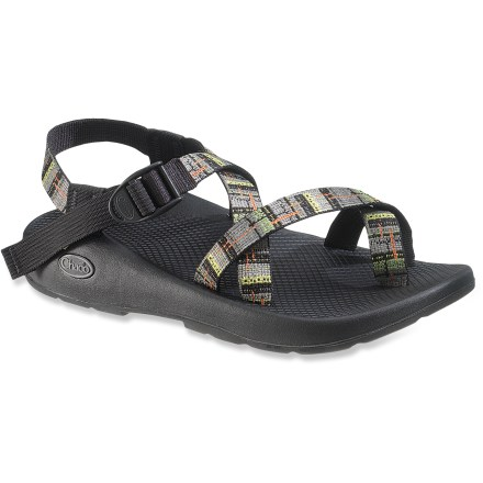 Camp and Hike Jump into your next adventure feet first! With sticky rubber outsoles and secure webbing toe loops, the Chaco Z/2 Pro sandals offer water enthusiasts sure footings in aquatic environs. Adjustable polyester strapping system uses pull-through design to give you a secure fit while avoiding the bulk of extra buckles and straps. Polyester webbing dries faster than nylon and maintains a consistent fit in all conditions; toe straps offer a secure fit. Lightweight polyurethane midsole/topsole units offer durable, dependable cushioning and support. Shaped ChaPU polyurethane footbeds/midsoles feature a supportive, comfortable design with heel risers, heel cups and extra arch support for lasting pronation control. LUVSEAT(TM) XO1 platform offers durability, cushioning and support. Vibram(R) Idrogrip outsoles feature 2 - 3mm deep rubber lugs with self-cleaning performance; outsoles deliver dependable traction on land and in water; marking soles. - $76.93