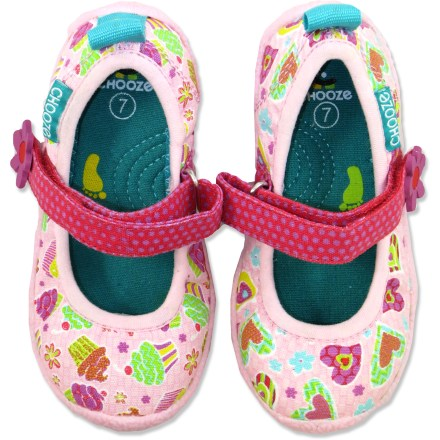 With a fun all-over print and Mary Jane-style rip-and-stick adjustable instep strap, the Chooze Dance shoes are a great choice for little girls who love to twirl. Canvas uppers and linings are soft and breathable, yet highly durable; stretch trim hugs the feet; toe box is roomy. EVA midsoles offer lightweight cushion for all-day comfort; lightweight wood plates provide support and stability. Rubber outsoles provide sure footing and help protect little feet. All-synthetic construction makes these vegan-friendly. - $22.83