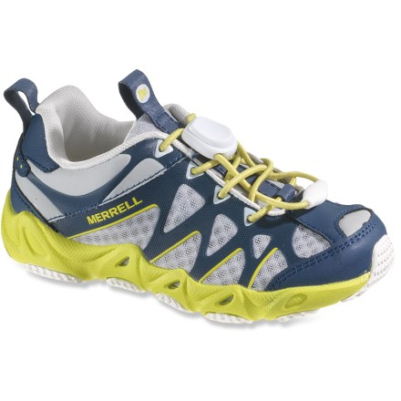 Camp and Hike The Merrell Aquaterra Sprite Water shoes allow kids to satisfy their inexhaustible attraction to puddles, with a water-ready design and amazing comfort. Synthetic mesh uppers drain quickly, and feature leather and synthetic textile overlays for lightweight support. Synthetic mesh linings wick moisture away and dry quickly. Cord-lock laces secure shoes quickly and are super easy to use. Removable, quick-drying EVA insoles are also treated with an antimicrobial solution. EVA midsoles with heel air cushions absorb shock. Merrell Aquaterra Sprite water shoes have nonmarking rubber outsoles for reliable grip on wet and dry surfaces. - $26.83