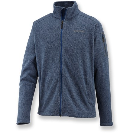 The Merrell Fractal fleece jacket provides warmth and comfort that won't go out of style. Soft, non-pilling polyester fleece retains warmth, continuing to insulate even if wet. Full-length front zipper ensures easy on and off. Zippered sleeve pocket and zippered handwarmer pockets hold daily essentials. Closeout. - $52.73