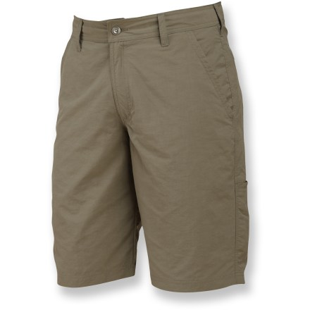 Camp and Hike The Merrell Karimata shorts were born for hiking. Set your sights on summer adventures and choose these shorts as your trusty companion. Opti-Wick(TM) nylon fabric wicks moisture and dries quickly. Zippered fly with snap closure. Zippered rear cargo pockets keep small items secure. Closeout. - $22.73
