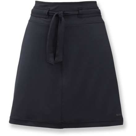 From the rush hour to happy hour, the Merrell Lily skirt wicks moisture to keep you cool on warm days. Smooth fabric transfers moisture away from your skin and dries quickly to keep you comfortable. Spandex adds all-around comfort and shape retention for travel-friendly, easy care. Fabric provides UPF 50+ sun protection, shielding skin from harmful ultraviolet rays. Merrell Lily skirt has a wide waistband with adjustable drawstring for a comfortable, customized fit. Closeout. - $19.73