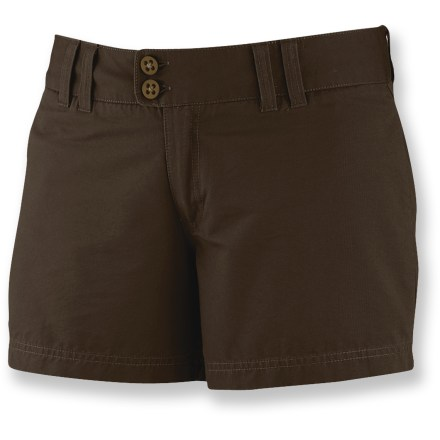 Surf Boost your summer wardrobe with the Merrell Kaliopi shorts. These everyday shorts are perfect for warm weather and offer just the right amount of stretch for the perfect fit. Kaliopi shorts are made from soft, breathable, slightly stretchy cotton/elastane blend. Zip fly, button closure and belt loops; flattering yoke adds some interest on the backside. Hidden zip pockets add stash space in front; back pockets have button-flap closures. The Merrell Kaliopi shorts have a 5 in. inseam. Closeout. - $22.73