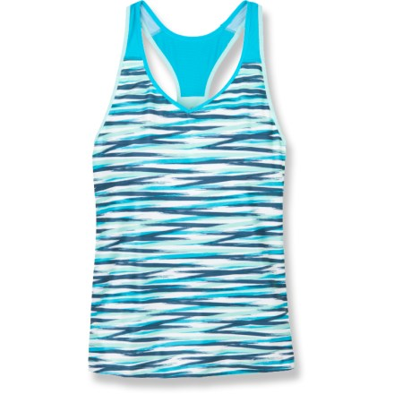 Fitness Slip on the Moving Comfort Interval tank top for a warm-weather training run or gym session. Moisture-wicking and quick-drying fabric is sure to keep you comfortable no matter the workout. Seamless interior shelf bra offers high-impact support for A/B cups and medium impact support for C/D cups. Mesh zones along the front and back enhance ventilation. Moving Comfort Interval tank top offers a next-to-body fit. Closeout. - $10.73