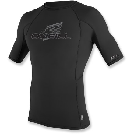 Kayak and Canoe The men's O'Neill Skins crew rashguard keeps you comfortable while you chart a course to adventure with paddle in hand. Stretchy and durable, this top dries quickly and offers UPF 50+ protection against harmful ultraviolet light. Paneling and flatlock seams are designed to work with a paddler's movements, reducing overall wear and chafing. Small loop at the hem prevents shirt ride up when connected to board short laces (board shorts not included). The men's O'Neill Skins crew rashguard is formfitting. Hand wash and drip dry. - $36.95