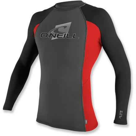 Kayak and Canoe Make your second skin the O'Neill Skins Crew long-sleeve rashguard and you'll feel right at home playing in the waves. Stretchy and durable, this top dries quickly and offers UPF 50+ protection against harmful ultraviolet light. Paneling and flatlock seams are designed to work with a paddler's movements, reducing overall wear and chafing. Small loop at the hem prevents shirt ride up when connected to board short laces (board shorts not included). The men's O'Neill Skins Crew long-sleeve rashguard is formfitting. Hand wash and drip dry. - $39.95
