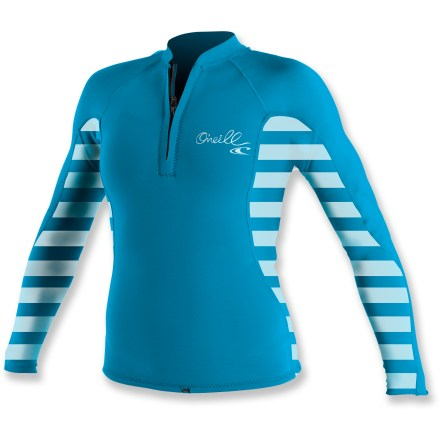 Kayak and Canoe You'll love the UV protection and quick-drying prowess of the women's O'Neill Skins Stripe front-zip crew rashguard during long paddles on sunny days. Stretchy and durable, this top dries quickly and offers UPF 50+ protection against harmful ultraviolet light. Paneling and flatlock seams are designed to work with a paddler's movements, reducing overall wear and chafing. Small loop at the hem prevents shirt ride up when connected to board short laces (board shorts not included). The women's O'Neill Skins Stripe front-zip crew rashguard is formfitting. Hand wash and drip dry. - $40.95