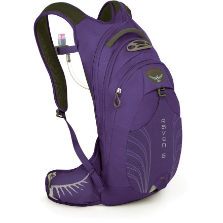 Fitness This compact Osprey Raven 6 hydration pack has a women-specific design and is well-suited to quick and fun rides up to 2 hours long, all with a 100 fl. oz. reservoir to ensure you don't go thirsty. Hydration system features a 100 fl. oz. reservoir that conforms to back's shape even when full, resulting in a precise, stable and comfortable fit. Rigid spine stabilizes the reservoir and doubles as a handle, making it easy to slide it into its dedicated compartment; large mouth makes filling and cleaning easy. Hydration reservoir pocket has zippered access that extends onto shoulder strap, letting you remove, refill and replace reservoir and drink tube quickly and with minimal fuss. Women-specific design incorporates a back panel with molded foam to create a lightweight, supportive and ventilated contact area across your back. Women-specific design also incorporates a shorter torso relative to men's packs, ensuring a comfortable fit. Breathable mesh and perforated, molded foam on contoured shoulder straps and full-sized hipbelt offer great breathability and load-carrying comfort. Sternum strap has a magnetic attachment for keeping the bite valve accessible. Large zippered main pocket has dividers to make it easy to organize your gear, food and other essentials. Removable, roll-up tool pouch stores in its own zippered compartment at bottom of pack, giving you quick and convenient access to your tools for mid-ride adjustments or fixes. Top zippered pocket has internal key pocket and is lined with a soft, easy-to-clean fabric that helps keep sunglasses from getting scratched. Stretch mesh front pocket work great for stashing extra gear or a water bottle. Quickly attach a helmet to the Raven 6 with the LidLock(TM) helmet clip; bungee on the exterior of the pack allows easy adjustment of the LidLock feature. Zip pockets on hipbelt stow small tools or energy foods. - $109.00
