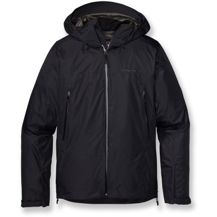 The Super Cell men's jacket is the lightest-weight Gore-Tex(R) PacLite(R) shell in the Patagonia lineup and the ultimate in efficiency. It's streamlined, durable and super packable; ideal for fast and light endeavors. 2.5-layer Gore-Tex PacLite is engineered specifically to be light, packable and more breathable than other 2- or 3-layer Gore-Tex fabrics. Waterproof membrane is laminated to the shell fabric and then covered by a thin, durable protective coating made of an oleophobic (oil-hating) substance. Lack of need for a separate lining allows fabric to be light and compact; combines durable wind- and waterproofness with exceptional breathability. Micro seam allowances increase breathability and suppleness, and save weight; all seams are sealed for complete protection. Optimal Visibility Hood(TM) helmet-compatible, 2-way adjustable hood with laminated visor ensure good visibility in poor conditions. Microfleece-lined neck and windflap for next-to-skin comfort. Embedded cordlocks in hood and hem allow quick fit adjustments. Gusseted underarm panels let you extend your reach without raising the body of the jacket; panels sport watertight, coated pit zips for ventilation. Low-profile gusseted cuffs create a tight wrist seal. Harness- and pack-compatible pockets feature slim, watertight laminated zippers. Patagonia Super Cell jacket has regular fit for easy layering. - $269.00