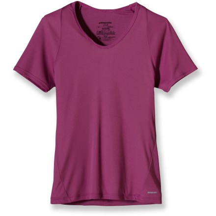 The breathable, quick-drying women's Patagonia Lightweight Capilene(R) 2 T-shirt works best as a first layer for high-endurance activities in a wide range of temperatures. Lightweight, open-knit fabric invites airflow, dries quickly and works well when layering; fabric features high recycled content. Breathe easy after a long day of exertion thanks to the natural odor control built into the fabric. Raglan sleeves eliminate shoulder seams, enhancing range of motion and comfort under pack straps. Extra-soft underarm and side panels and flat seams reduce chafing. The women's Patagonia Lightweight Capilene 2 T-shirt features a contoured, slim fit. - $18.83