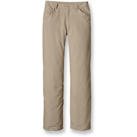 Camp and Hike Wherever your travels take you, pack the trusty and presentable Patagonia River Valley pants. Stretch-woven polyester/nylon fabric blend is lightweight and water-repellent; treated with a Deluge(R) Durable Water Repellent finish to repel moisture and stains. Front pockets and rear drop-in pockets with button closures. Patagonia River Valley pants have a mid-rise waistband and straight legs. Waistband with belt loops, zip fly and button closure; back yoke adds shaping. Closeout. - $54.73