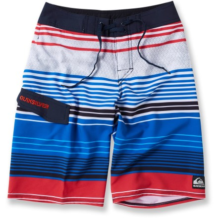 Surf The Quiksilver What It Is board shorts keep boys looking and feeling relaxed when they're riding waves, playing on the beach or swimming in the neighborhood pool. Lightweight polyester with a touch of spandex dries fast and stretches to fit perfectly every time. The Quiksilver What It Is board shorts feature a drawstring waist and a pocket on the right leg. - $31.93