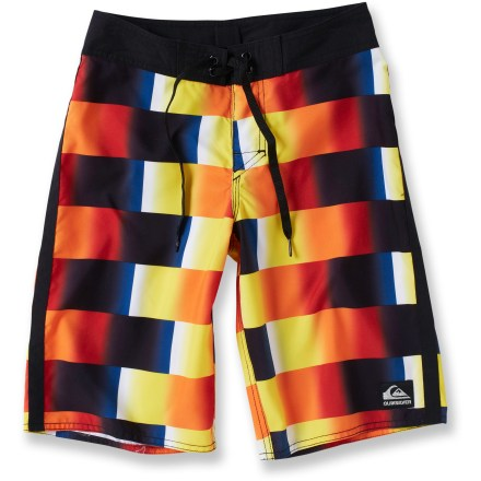 Surf Moms always think their kids are rad, but the Quiksilver Get Rad board shorts will get everyone else on board, too. Their style and comfort are perfect for surfing or playing in the sand. Polyester dries quickly and withstands abuse from sand, salt and chlorine. The Quiksilver Get Rad board shorts feature a drawstring waist that provides a secure fit and a neoprene fly that is soft against the skin. - $29.93