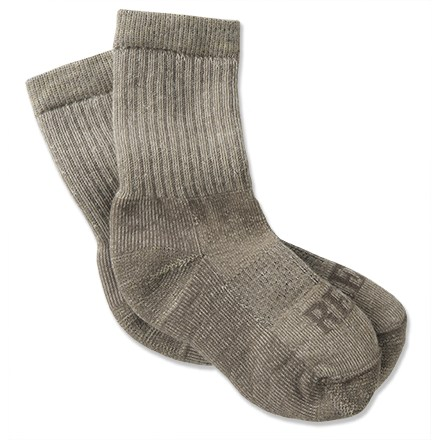 "Camp and Hike Made for all-season comfort, these hiking socks are constructed of a merino wool/nylon blend for breathable cushioning and softness against the skin. Soft, non-irritating merino wool insulates, wicks away moisture and resists odors--naturally! Nylon and Lycra(R) spandex add durability and stretch. Uniquely formed toe area and ''no feel"" seams keep socks smooth to help fight blisters. *Offer not valid for sale-price items ending in $._3 or $._9. - $8.00"
