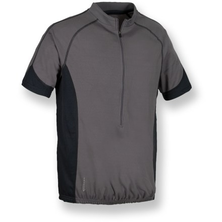 Fitness Equally suited to time trial courses and leisurely weekend rides, the Serfas Tracer combines high-performance fabric and useful features for a winningly comfortable bike jersey. Keeping you comfortable when you break a sweat, the lightweight, breathable polyester dries quickly and wicks away moisture. Mock neck ensures full coverage; half-zip opening provides immediate ventilation when you need to cool off. Semifitted jersey never binds or constricts; elastic at hem and cuffs keeps jersey in place while riding. Droptail hem ensures full coverage while in the riding position. 3 elastic rear pockets easily stash small items such as keys, ID and energy gels. Serfas Tracer bike jersey utilizes flatlock stitching to minimize chafing and irritation. Closeout. - $19.73